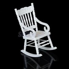 MINIATURE DOLLHOUSE FAIRY GARDEN CLASSIC WOOD ROCKING CHAIR WITH HEMP ROPE SEAT
