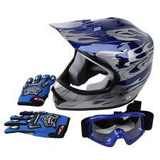 New DOT Youth Blue Flame Dirt Bike ATV BMX Motocross Helmet w/ Goggles+gloves S