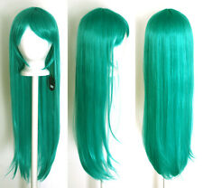 32'' Long Straight Long Bangs Seafoam Green Blue Miku Cosplay Wig NEW