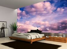 White And Pink Puffy Clouds Blue Sky Wall Mural Photo Wallpaper GIANT WALL DECOR