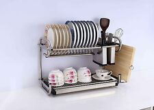 2 Two Tier Layers Stainless Steel Dish Plate Rack Kitchen Organizer Drainer Tray