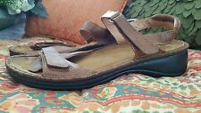 NAOT women's sz 42/ 11 brown leather sandals VELCROtm brand fasteners pre-owned!