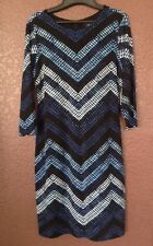 Karen Kane Women's Cerulean Chevron Sheath Dress, Blue Print, L, NEW