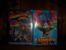 MADAGASCAR 3 WITH RAINBOW WIG DVD CHILDRENS ANIMATED MOVIE CARTOON HERO NEW