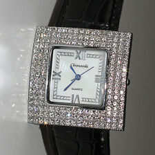 Square Silver Croc Snake Skin Leather Strap Crystals Rhinestone Wrist Watches