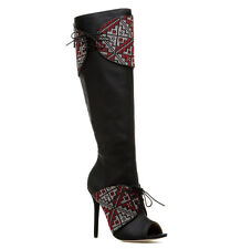 gx by Gwen Stefani Black Red_n_White Cuff Lace Up Stiletto Heel Boots, US 11