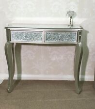 Gold Silver Crackle Mosaic Mirrored Glass 2 Drawer Console Dressing Hall Table