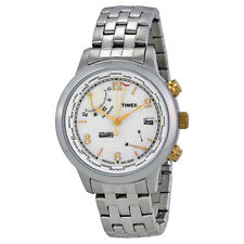 Timex Intelligent World Time White Dial Stainless Steel Mens Watch T2N613
