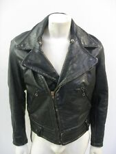 Vintage Black Leather Motorcycle Police Jacket Lace Up Sides Size 46 L