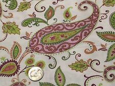 Fabric Flower Paisley Pods on White Cotton 1 Yard