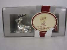NEW SILVER TONE METAL REINDEER PLACECARD HOLDER SET OF 4