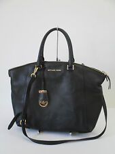 Michael Kors Riley Black Leather Large Satchel Shoulder Handbag Handbag