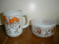 Vintage Anchor Hocking Fire-King Snoopy Coffee Mug Cup Cereal Bowl Breakfast Set