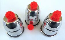 CUPS AND BALLS CHOP CUP COMBO SET 2 Books Aluminum 3 Silver Goblet Magician Red