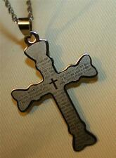 Handsome Club Armed Spanish Our Father Lord's Prayer Stainless Cross Necklace