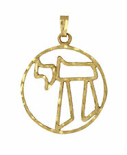 "Jewish Jewelry 14K Gold ""Chai"" In Hebrew Cut Out Pendant 1"" Diameter, 2.1 grams"