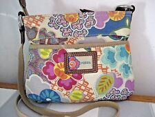 FOSSIL Floral Printed Canvas Small Crossbody with Leather Trim