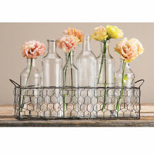 Apothecary Jar Bottle Flower Vases & Wire Basket - Set of Six Clear Glass