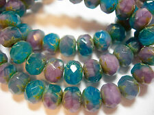 25 8x6mm Amethyst Teal Blend Czech Glass Picasso Rondelle beads
