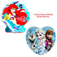 DISNEY FROZEN OR ARIEL CHARACTER KIDS PLATE MELAMINE BPA FREE GIRLS BABY GIFT