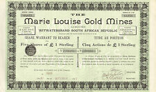 The Marie Louise Gold Mines Ltd., Witwatersrand South African, 5 acciones, 1895