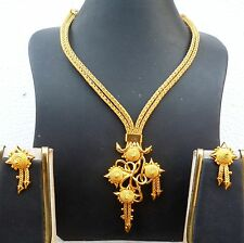 22K Gold Plated Designer Necklace Earrings Indian Wedding Jewelry Sale Price J