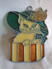 "Acrylic Suncatcher Cat in Hat Box 3.5"" Window Ornament Multi-Color"
