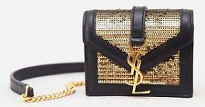 Yves Saint Laurent Monogram Mini Candy Gold Sequined Leather Bag