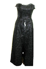 Ladies Black Gothic Steampunk Victorian Romantic Phaze Brocade Dress Size 8-10