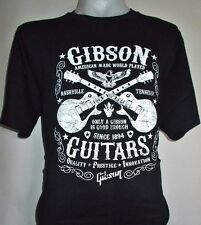 Gibson Guitar American Made World Played Black Vintage New T-Shirt Size M