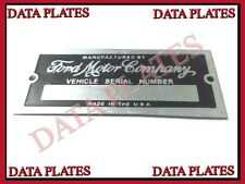 FORD MOTOR COMPANY DATA PLATE SERIAL NUMBER TAG HOT ROD RAT ROD STREET ID TAG