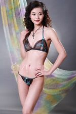 L1347-1 Black Sheer Sexy Peek A Boo Embrodery Floral Bikini 2pcs Bra Set