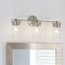 Allen + Roth Bathroom Vanity 3 Light Fixture Brushed Nickel Jar Wall Lighting