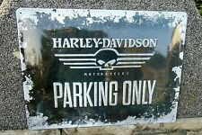HARLEY-DAVIDSON Motorcycles SKULL - PARKING ONLY - Embossed Wall Sign - OFFICIAL