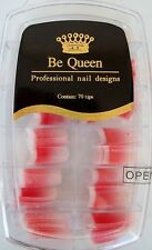 Be Queen N03 Professional Nail Design Tips 70ct  Red White Frosted Fade Glitter