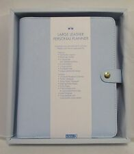 New! Kikki K Ice Blue A5 Large Textured Personal Leather Planner 6 Ring Organize