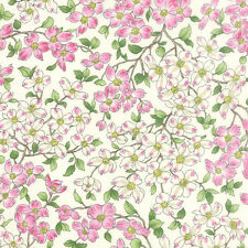 DOGWOOD TRAIL II~BY 1/2 YD~MODA FABRIC~33031-11~SM PINK FLOWERS /PORCELAIN WHITE