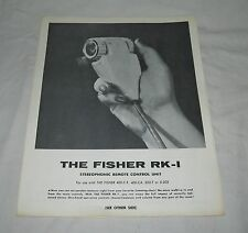 Original FISHER RK-1 Remote Control Single Sheet Factory Sales BROCHURE 400-C/CX