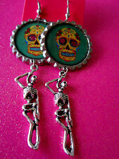Day Of The Dead Sugar Skull With Skeleton Dangle Charm Earrings #16
