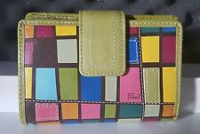 FOSSIL Women's Green Multi-Color Patchwork Genuine Leather Bifold Snap Wallet