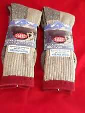 2 Pair Large Clear Creek 67% Merino Wool Heavy Hikers Sock 6-12 USA Red