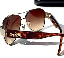 NEW* COACH Gold AVIATOR L944 OLIVIA TORTOISE Carriage Gradient Sunglass H7049