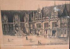 LEGRAND Dessin original à la plume du Palais de Justice de Rouen 1848
