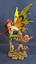Elf Fairy Dreaming on a Mushroom  w/ a Snail Friend Mythical Fantasy Figurine