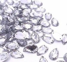 50 pcs x Sew On 8x13 mm Acrylic Rhinestones  Clear Color Teardrop Shape