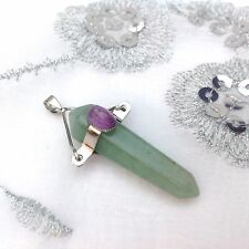 NEW NATURAL HEALING CRYSTAL STONE AVENTURINE SILVER TOP PENDULUM POINT PENDANT