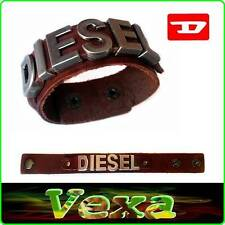 DIESEL Luxury Genuine Leather Bracelet Dark Brown Bangle Wristband Men Surf BD24