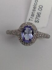 New 14K White Gold Oval Shape Natural Tanzanite and Pave Diamond Halo Ring Sz 7