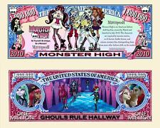 MONSTER HIGH ! BILLET MILLION DOLLAR US! Collection Dessin Animé Gothic Horreur