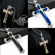 Beauty Blue Gift Unisex's Silver Stainless Steel Cross Pendant Necklace Chain ID